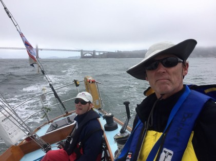 Steve and Jim sailing past the golden gate